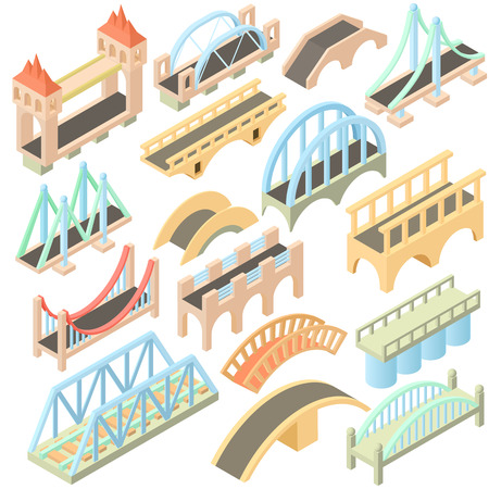 Isometric bridges stadium icons set. Universal bridges icons to use for web and mobile UI, set of basic bridges elements isolated vector illustration Çizim