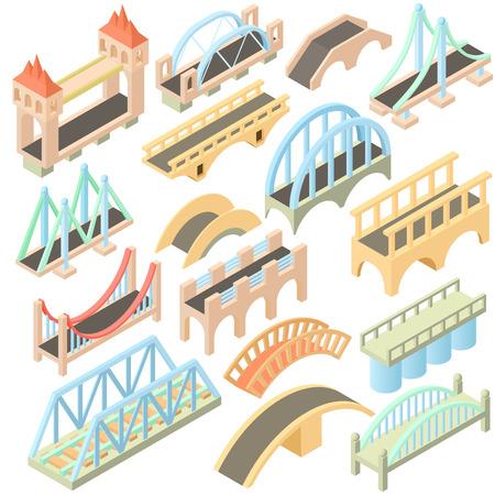 viaduct: Isometric bridges stadium icons set. Universal bridges icons to use for web and mobile UI, set of basic bridges elements isolated vector illustration Illustration