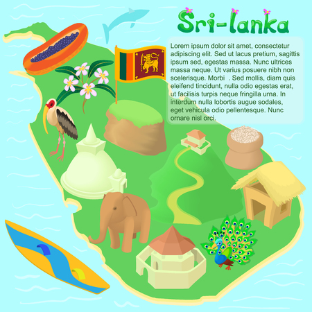 ceylon: Cartoon Sri lanka map. Universal Sri lanka map to use for web and mobile UI, set of basic Sri lanka elements isolated vector illustration