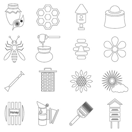 apiary: Outline apiary icons set. Universal apiary icons to use for web and mobile UI, set of basic apiary elements vector illustration Illustration