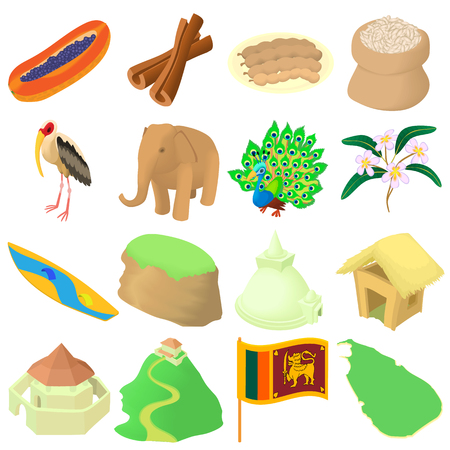colombo: Cartoon Sri lanka icons set. Universal Sri lanka icons to use for web and mobile UI, set of basic Sri lanka elements isolated vector illustration