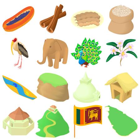 Cartoon Sri lanka icons set. Universal Sri lanka icons to use for web and mobile UI, set of basic Sri lanka elements isolated vector illustration