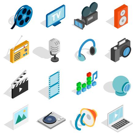 botton: Isometric media icons set. Universal media icons to use for web and mobile UI, set of basic media elements isolated vector illustration Illustration