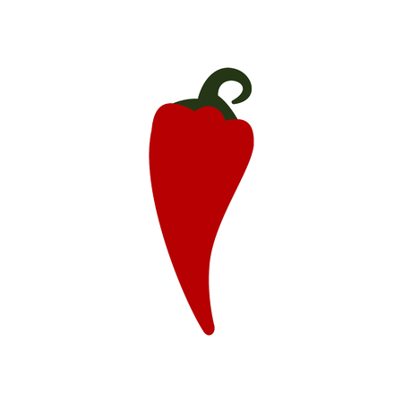 hot pepper: Red hot chili pepper icon in flat style on a white background Illustration