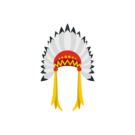 indian headdress: Native American indian headdress with feathers icon in flat style on a white background