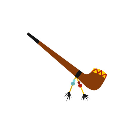peace pipe: Traditional Indian smoking pipe of peace icon in flat style on a white background