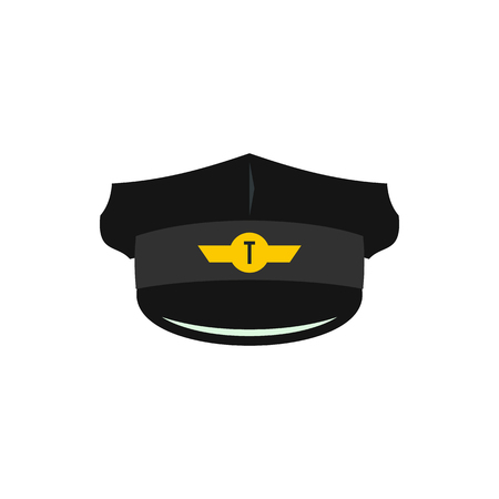driver cap: Cap of taxi driver with cockade icon in flat style on a white background
