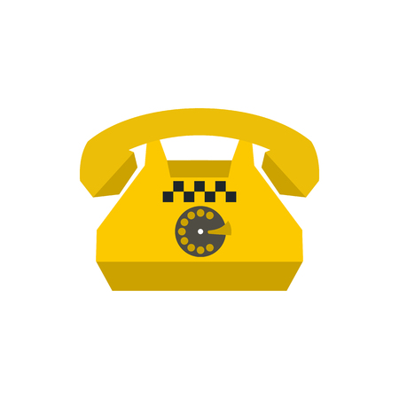 Yellow retro taxi phone icon in flat style on a white background Illustration