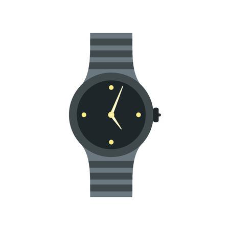 chrome man: Wrist watch icon in flat style on a white background