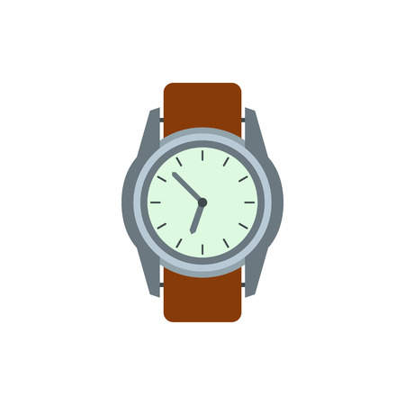 chronograph: Wrist watch with brown leather strap icon in flat style on a white background