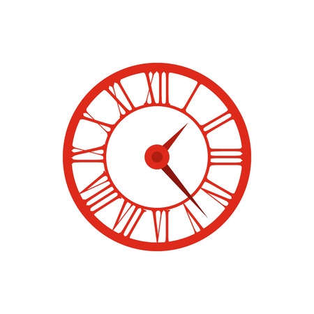 ancient pass: Elegant roman numeral clock icon in flat style on a white background
