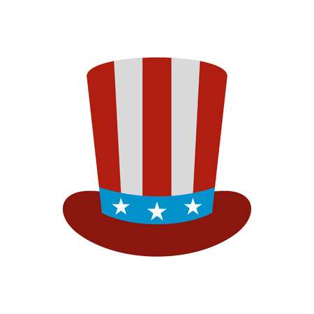 Top hat in the USA flag colors icon in flat style on a white background Illustration