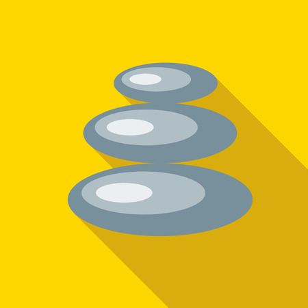 cobble: Spa stones for relax procedure icon in flat style isolated with long shadow