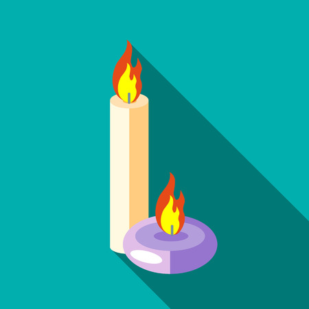 aromatic: Aromatic candles icon in flat style isolated with long shadow