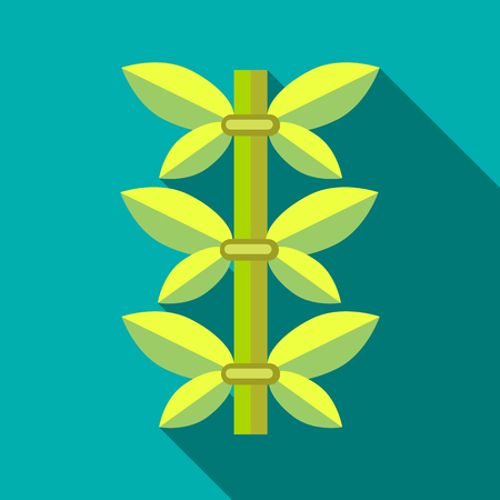Green bamboo icon in flat style isolated with long shadow