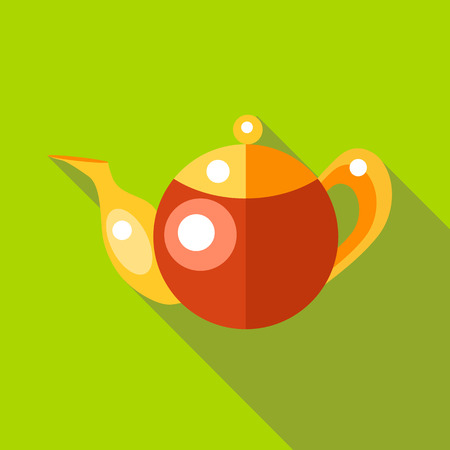 chinese tea pot: Tea pot icon in flat style isolated with long shadow Illustration