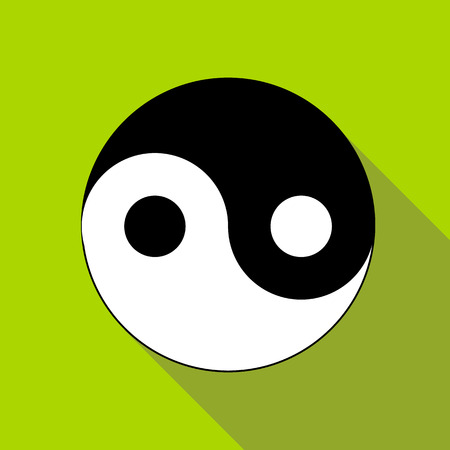 yang style: Yin Yang symbol icon in flat style isolated with long shadow