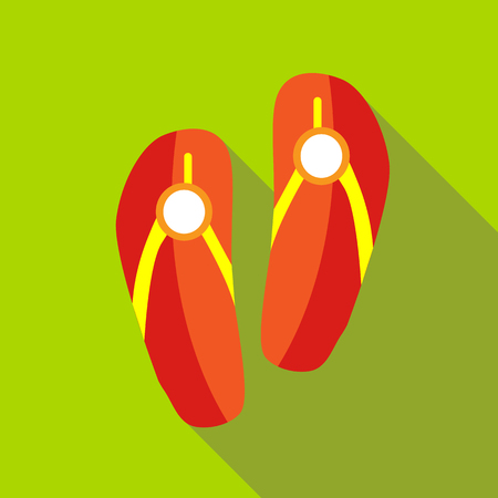 footprints in sand: Red beach slippers icon in flat style isolated with long shadow Illustration