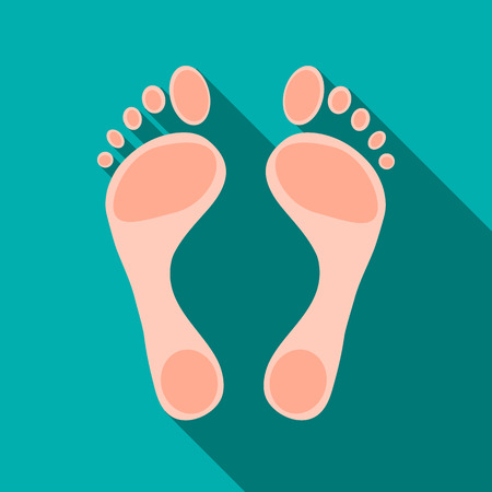 Human feet icon in flat style isolated with long shadow Illustration