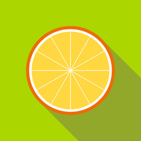 Orange slice icon in flat style isolated with long shadow Illustration