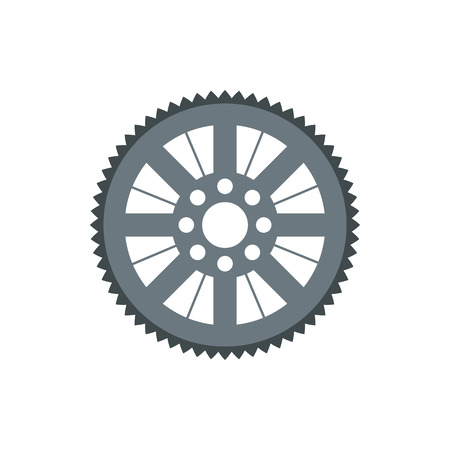 mechanical parts: Sprocket for bicycle icon in flat style isolated on white background. Mechanical parts symbol