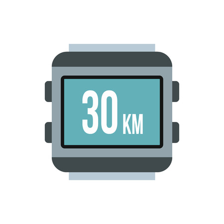 kilometre: Speedometer for bike icon in flat style isolated on white background. Speed measurement symbol