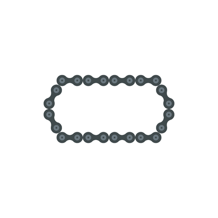 Bike chain icon in flat style isolated on white background. Mechanical parts symbol