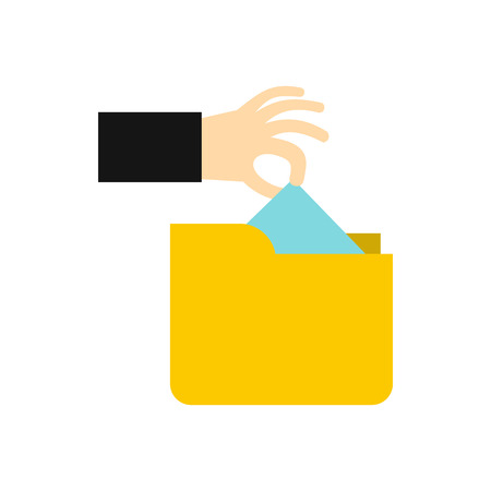 stealing: Hand stealing e-mail icon in flat style isolated on white background. Hacking symbol