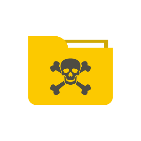 Virus in e-mail icon in flat style isolated on white background. Hacking symbol