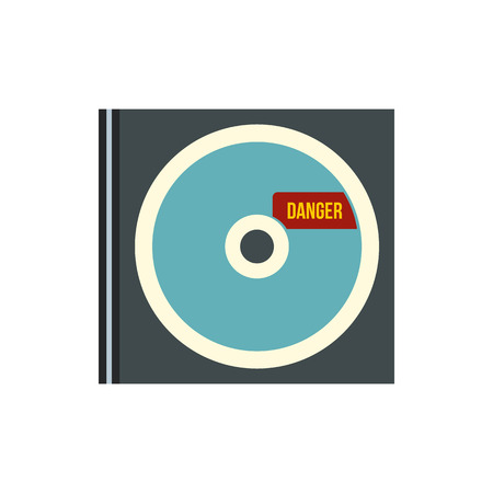 disk break: Disk with virus icon in flat style isolated on white background. Hacking symbol Illustration