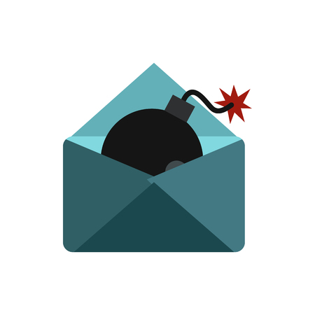 secret identities: Hacking e-mail icon in flat style isolated on white background. Cracking symbol