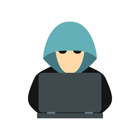 stealing data: Hacker behind a computer icon in flat style isolated on white background. Cracking symbol