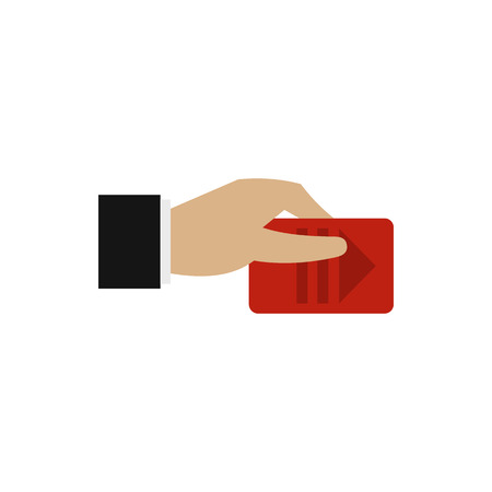 pays: Hand pays for parking icon in flat style isolated on white background. Payment symbol
