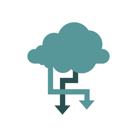 storing: Storing files in cloud icon in flat style isolated on white background. Online symbol