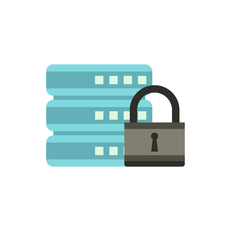retention: Data retention protection icon in flat style isolated on white background. Security symbol
