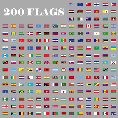 all european flags: 200 flags set. Universal flags set to use for web and mobile UI vector illustration