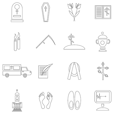 obituary: Outline death and funeral icons set. Universal death and funeral icons to use for web and mobile UI, set of basic death and funeral elements isolated vector illustration