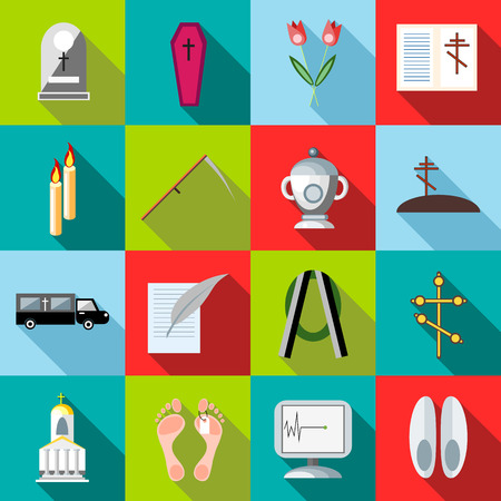 obituary: Flat death and funeral icons set. Universal death and funeral icons to use for web and mobile UI, set of basic death and funeral elements vector illustration