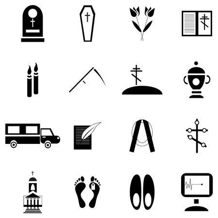 obituary: Simple death and funeral icons set. Universal death and funeral icons to use for web and mobile UI, set of basic death and funeral elements isolated vector illustration