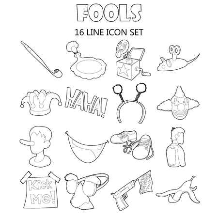 prankster: Outline fools icons set. Universal fools icons to use for web and mobile UI, set of basic fools elements isolated vector illustration Illustration