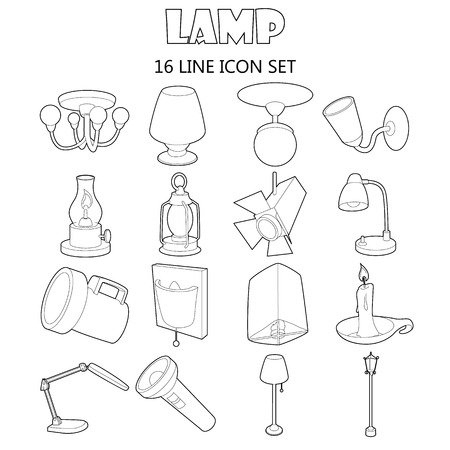 lamp outline: Outline lamp icons set. Universal lamp icons to use for web and mobile UI, set of basic lamp isolated vector illustration Illustration