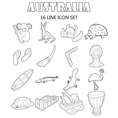 wooden boomerang: Outline Australia icons set. Universal Australia icons to use for web and mobile UI, set of basic Australia elements isolated vector illustration