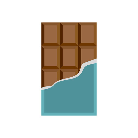 unwrapped: Chocolate icon in flat style on a white background