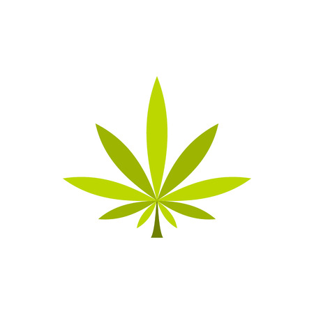 Marijuana leaf icon in flat style on a white background