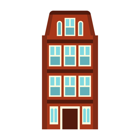 amsterdam canal: House icon in flat style on a white background