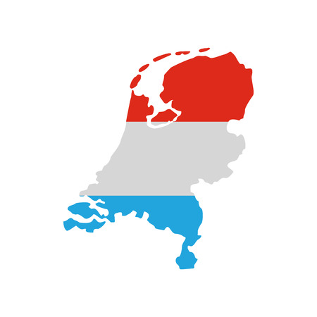 boundary: Map of the Netherlands in Dutch flag colors icon in flat style on a white background
