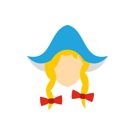 dutch girl: Head of girl in traditional Dutch hat icon in flat style on a white background