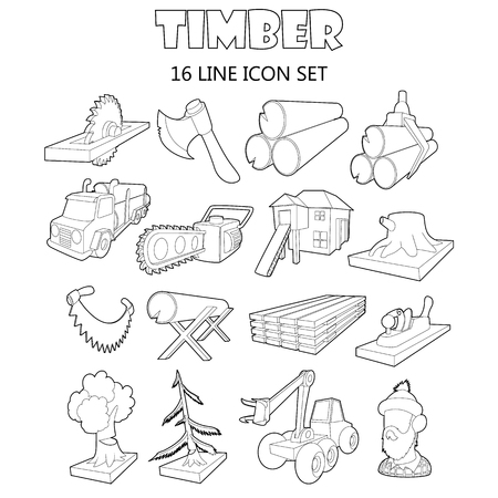 felling: Outline timber icons set. Universal timber icons to use for web and mobile UI, set of basic timber elements isolated vector illustration