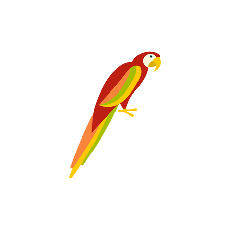 aviary: Parrot icon in flat style on a white background Illustration