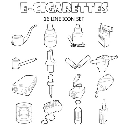 vaporized: Outline e-cigarettes icons set. Universal e-cigarettes icons to use for web and mobile UI, set of basic e-cigarettes isolated vector illustration